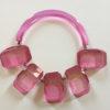 Rare Judith Hendler Vintage Deep Pink Five Rectangular Plaque Necklace