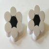 Judith Hendler Sliced Floral Motif White and Black Acrylic Earrings