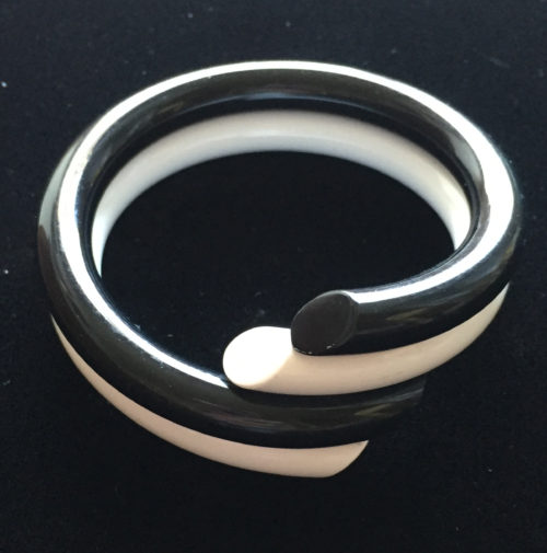 Vintage Judith Hendler Black and White Single Wrap Bypass Bracelet